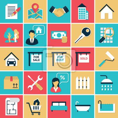 Установить Недвижимость плоские иконки
