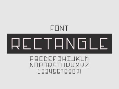 Rectangle font. Vector alphabet
