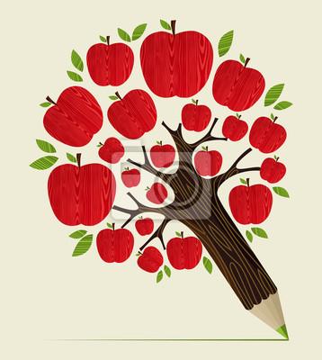 Концепция Красные яблоки дерево карандаш