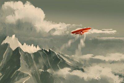 Картина красный биплан летающих над горным, иллюстрации, цифровой живописи