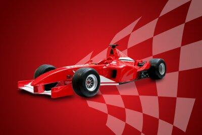 Картина красный формула один автомобиль и гоночный флаг