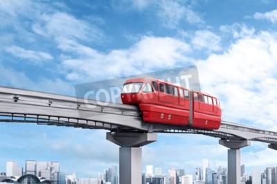 Картина Красный монорельс поезд на фоне голубого неба и современный город в фоновом режиме