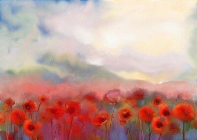 Картина Красные цветы мака подал акварель