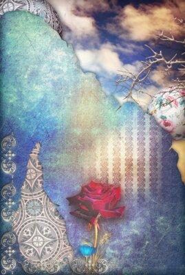 Картина Красная роза в синем звездного неба