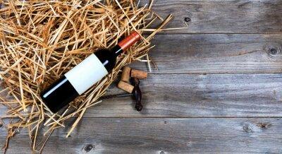 Картина Красная бутылка вина с марочного вина штопор на соломе
