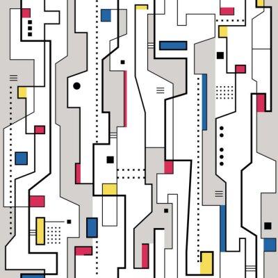 Картина красный желтый синий и серый абстрактный узор