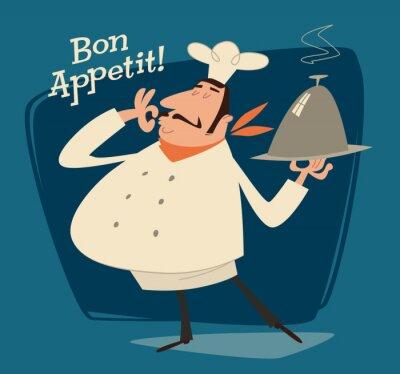 Картина Шеф-повар ресторана, ретро иллюстрации