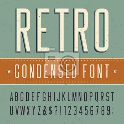 Retro alphabet vector condensed font. Scratched background