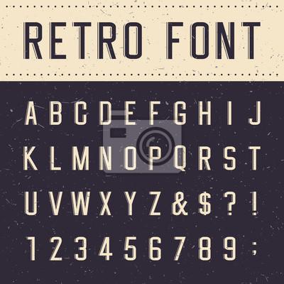 Ретро алфавит векторный шрифт. Царапины фоне.