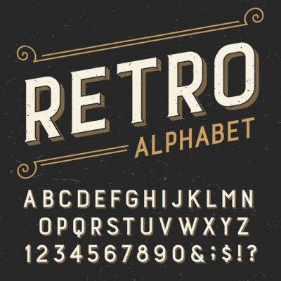 Картина Ретро алфавит векторный шрифт. С засечками типа буквы, цифры и символы. на темном фоне проблемных поцарапал. Векторной типография для этикеток, заголовки, плакатов и т.д.