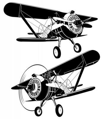 Картина Набор ретро силуэты биплана. Доступный векторный формат EPS-8, разделенный группами и слоями для удобного редактирования