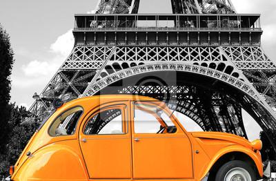 Картина Ретро автомобиль оранжевый цвет чистоты на улице