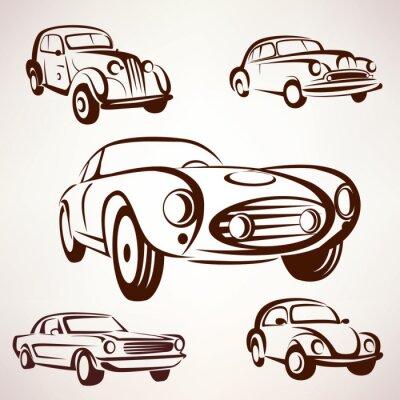 Картина ретро автомобили вектор коллекции соизволил элементы Фро этикеток и emble