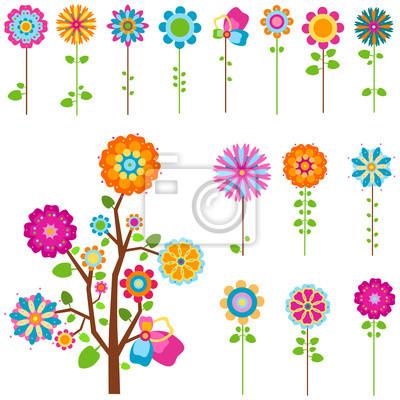 ретро цветы набор