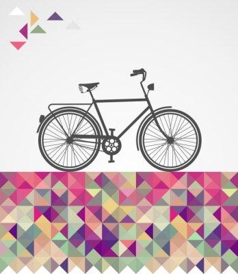 Картина Ретро брюки в обтяжку велосипед геометрические элементы.