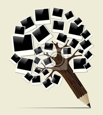 Ретро мгновенного фото концепция карандаш дерево