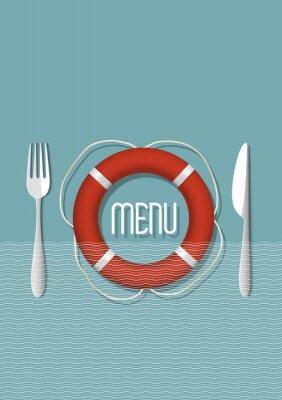 Картина Ретро дизайн меню для ресторана морепродуктов - вариация 5