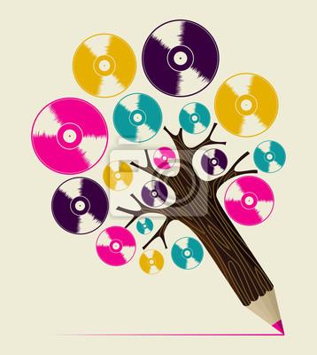 Ретро-музыка концепт-арт дерева