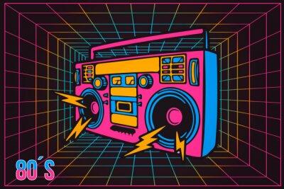 Картина Ретро поп вечеринка 80-х годов Party Recorder, неоновый мультяшный стиль
