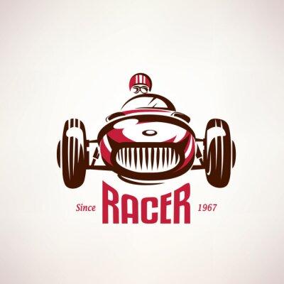 Картина Ретро гоночный автомобиль, старинных символ вектор, эмблема, шаблон этикетки по