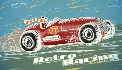 Картина Ретро плакаты гоночный автомобиль