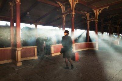 Картина ретро вокзал и дым поезда