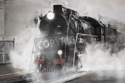 Картина Ретро паровоз отходит от железнодорожного вокзала