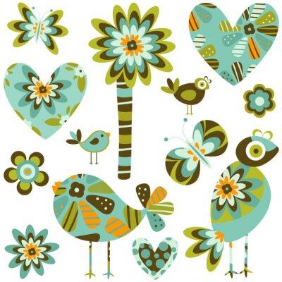 элементы ретро-стиле; цветы, бабочки, птицы