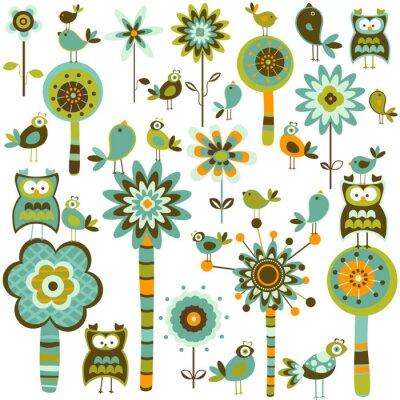 ретро-стиле элементы; цветы, деревья и птицы