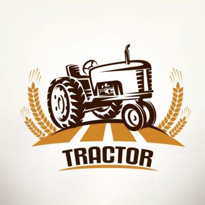 Картина символ вектор ретро трактор