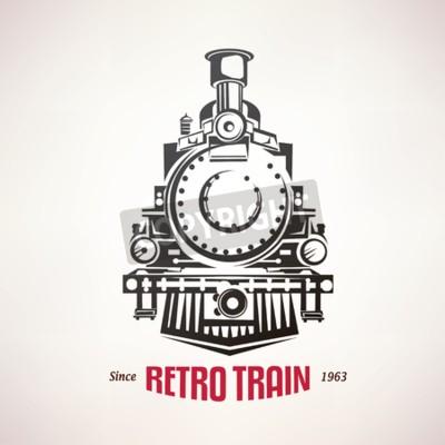 Картина ретро поезд, марочные символ вектор, эмблема, шаблон этикетки