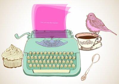 Картина ретро фон пишущая машинка