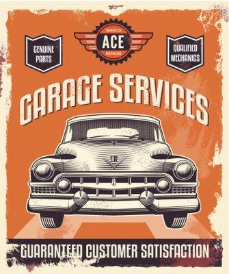 Картина Ретро старинные знак - Рекламный плакат - Классический автомобиль - гараж