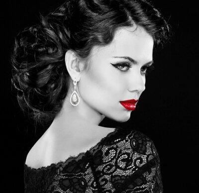 Картина Ретро женщина. Черно-белое фото.