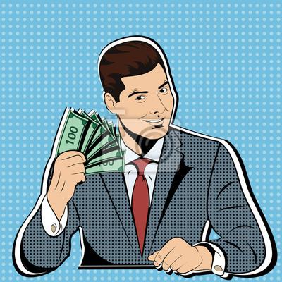 Богатые с пачками долларов. Бизнес-концепция финансового успеха поп-арт стиле ретро