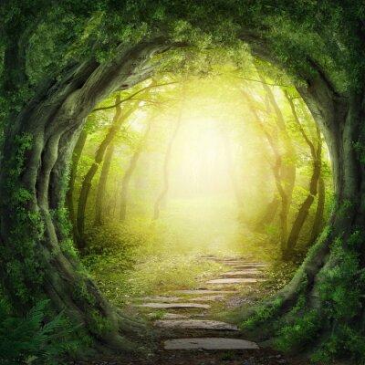 Картина Дорога в темном лесу