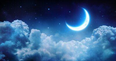 Картина Романтический Луна в звездное ночное через облака