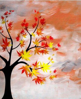 Картина романтический закат с дерева