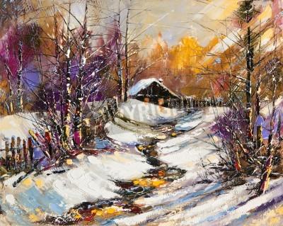 Картина Сельский зимний пейзаж
