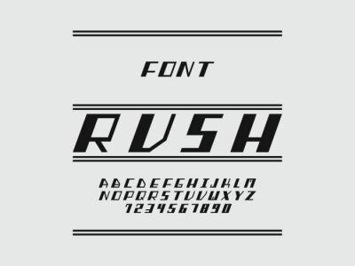 Rush font. Vector alphabet