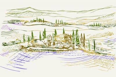 Картина Rysynek ręcznie rysowany. Toskański pejzaż z okolic Sieny we Włoszech w Europie