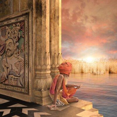 Картина Садху чтение книги.