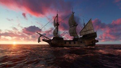 Картина Парусник в море вечером на закате 3D иллюстрации