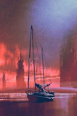 Картина Парусная лодка на пляже от заброшенных зданий в море на закате с цифровым художественным стилем, иллюстрации