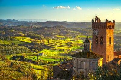 Картина Сан-Миниато колокольня собора. Пиза, Тоскана Италия Европа.