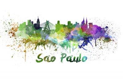Картина Сан-Паулу горизонт акварелью