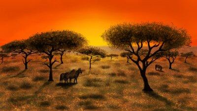 Картина Саванна на закат