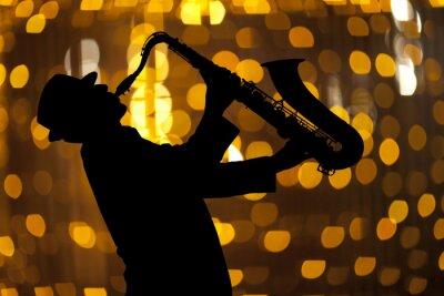 Картина Саксофонист. Человек играет на саксофоне