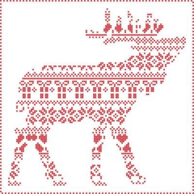 Картина Скандинавский Nordic зима шить вязание узор Рождество в оленеводством форме тела, включая снежинки, сердца рождественское дерево рождественские подарки, снег, звезды, декоративные украшения 2
