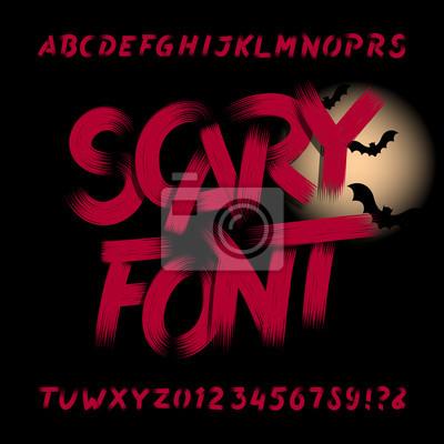 Страшный шрифт алфавита. Грязные буквы, цифры и символы. Рисованная векторная типография для ваших заголовков или любой типографский дизайн.